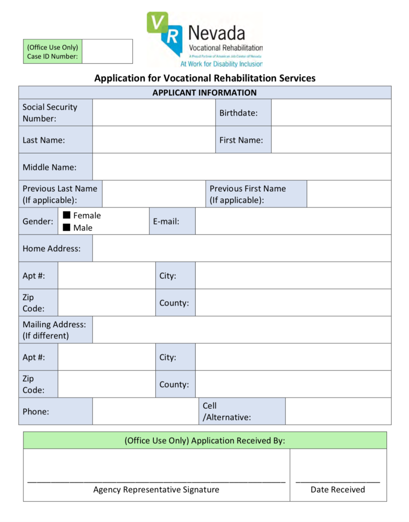 Standard application for Vocational Rehabilitation Services